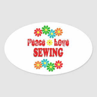 Peace Love Sewing Oval Sticker