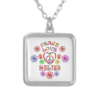 Peace Love Shelties Silver Plated Necklace