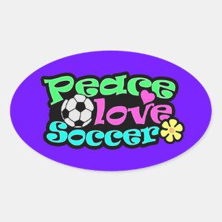 Peace, Love, Soccer; Retro Oval Sticker