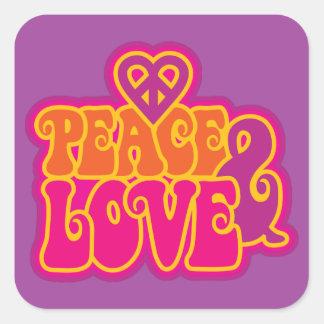 Peace & Love Square Sticker