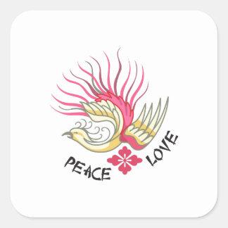 PEACE LOVE SQUARE STICKER