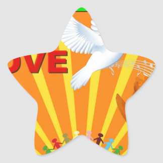 Peace & Love Star Stickers