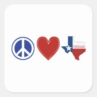 Peace Love Texas Square Stickers