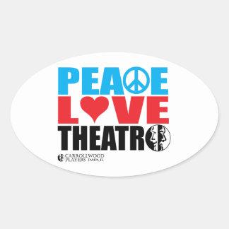 Peace Love Theatre Oval Sticker