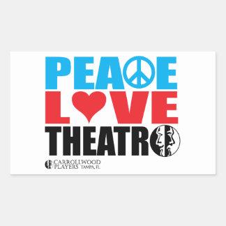 Peace Love Theatre Rectangle Stickers