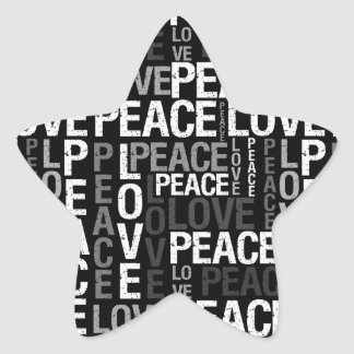 Peace Love Typography Star Sticker
