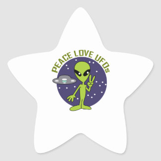 PEACE LOVE UFOS STAR STICKERS