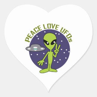PEACE LOVE UFOS HEART STICKER