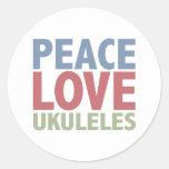 Peace Love Ukuleles Round Sticker