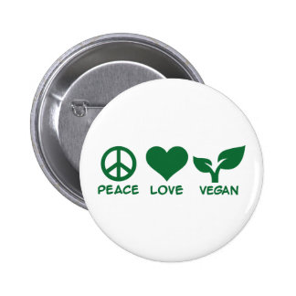 Peace love vegan 6 cm round badge