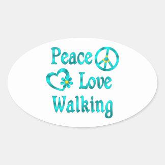 Peace Love Walking Oval Sticker
