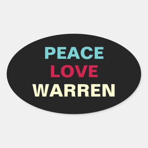 Peace Love WARREN Oval Sticker