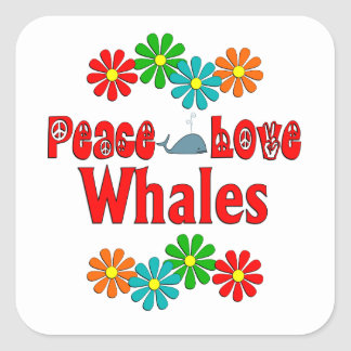 Peace Love Whales Square Stickers