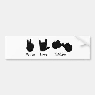 Peace Love Wilson Bumper Sticker