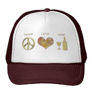 Peace Love Wine Design Hat