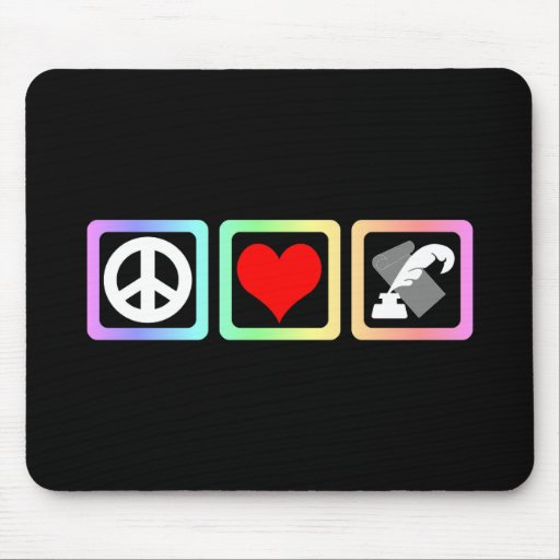 peace love writing mouse pad