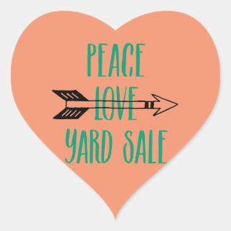 Peace Love Yard Sale Arrow Line Heart Sticker