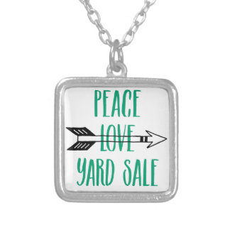 Peace Love Yard Sale Arrow Line Square Pendant Necklace