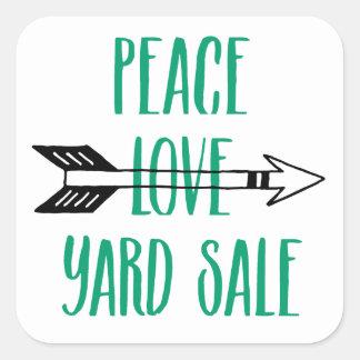 Peace Love Yard Sale Arrow Line Square Sticker