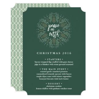 Peace on Earth   Custom Christmas Dinner Menu Card