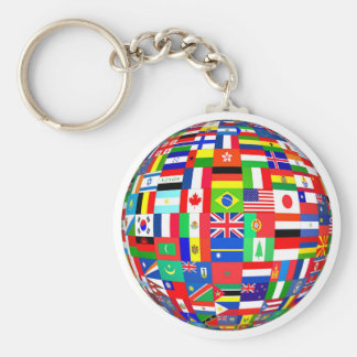 PEACE ON EARTH FLAGS BASIC ROUND BUTTON KEY RING