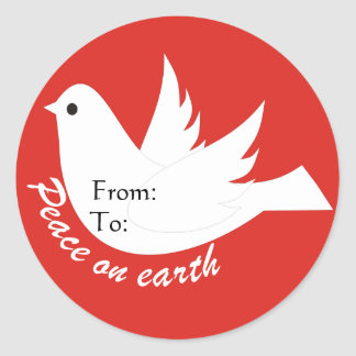 Peace on Earth Gift Tag Round Sticker