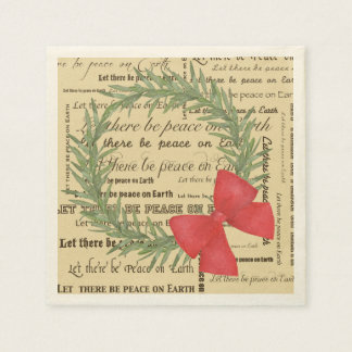 Peace on Earth Olive Leaf Wreath, Bow, Typography Disposable Serviette