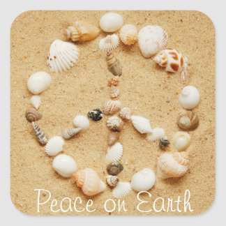 Peace on Earth Seashell Peace Sign Sticker