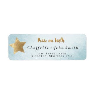 Peace on Earth Silver Blue  Golden Star Adress Return Address Label