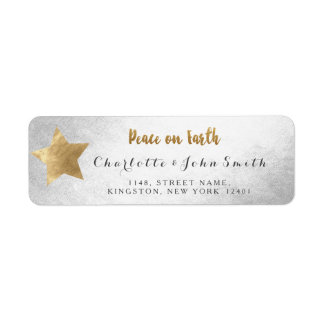 Peace on Earth Silver Golden Star New Adress Return Address Label