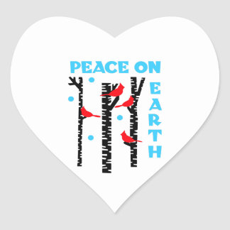 Peace On Earth Heart Sticker