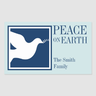 Peace on earth white dove blue large favor tag rectangular sticker