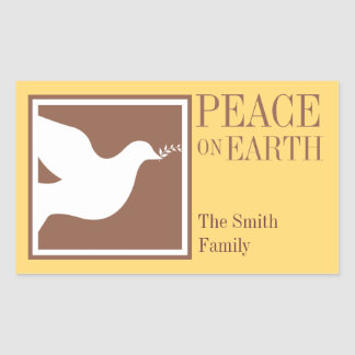 Peace on earth white dove brown large favor tag rectangle stickers