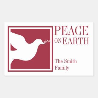 Peace on earth white dove elegant large favor tag rectangular sticker