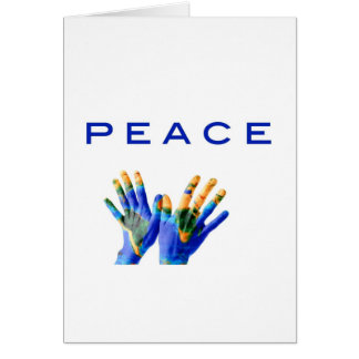 Peace, painted earth on hands by healing love greeting card