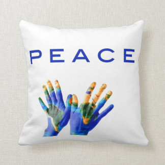 Peace, painted earth on hands by healing love throw pillow
