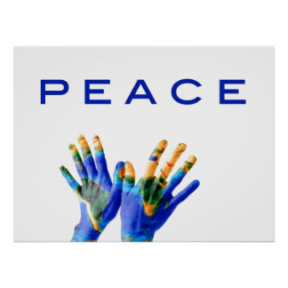 Peace, painted earth on hands by healing love print