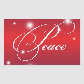 PEACE ribbon script snow glow red large gift tag Rectangle Stickers