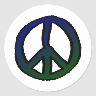 Peace Sign Blue and Green - Round Sticker