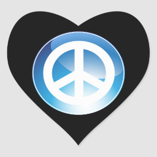 Peace Sign Blue Crystal Button Heart Sticker