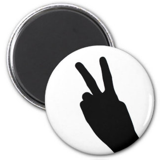 Peace Sign by Hand 6 Cm Round Magnet