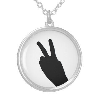 Peace Sign by Hand Round Pendant Necklace