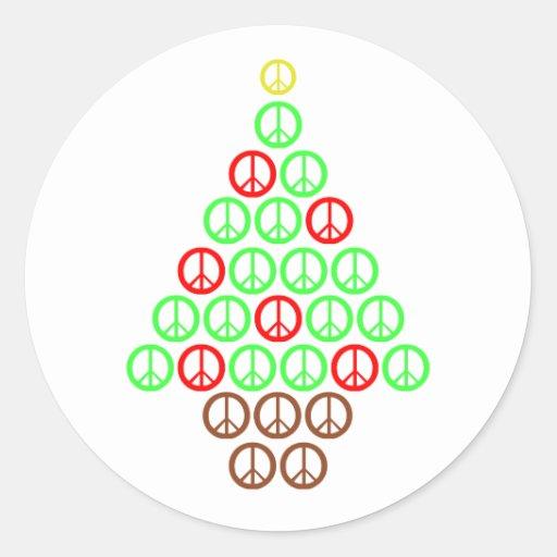 Peace Sign Christmas Tree Sticker