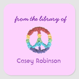 Peace sign custom bookplates - pink square sticker