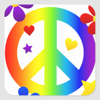peace sign design square sticker