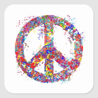 Peace Sign, Drip Art Square Sticker