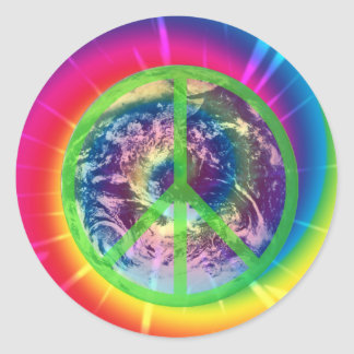 Peace Sign, Earth, and Tye Dye Sticker