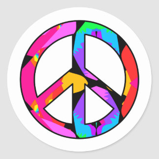 Peace Sign Flamingo Splash Stickers