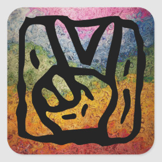 Peace Sign Hand and Colorful Rainbow Stripes Square Sticker