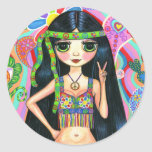 Peace Sign Hippie Girl Sticker